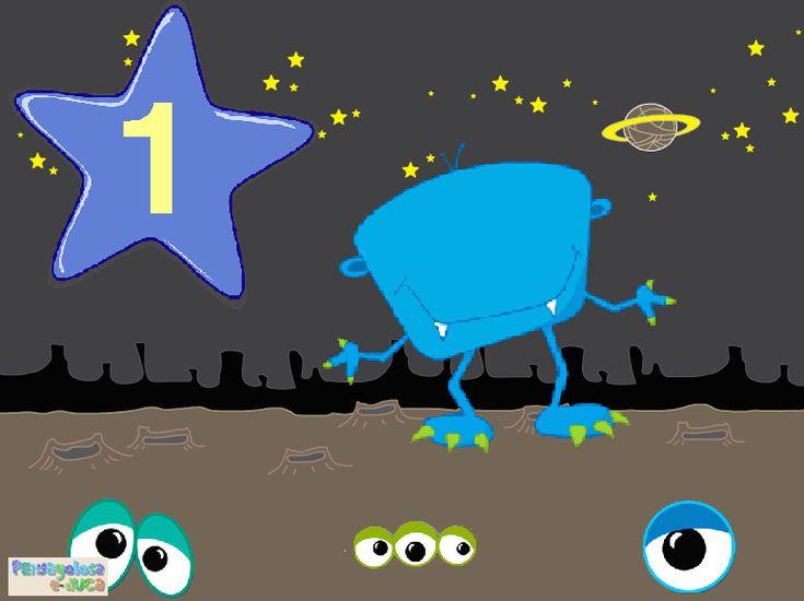 ABN - CONTAR: GRAFIA – CANTIDAD – Ayuda a los monstruos a encontrar sus ojos (1-3) – Este juego trabaja la correspondencia grafía-cantidad. El jugador/a debe arrastrar hasta el monstruo los ojos que tengan la misma cantidad que aparece en la estrella.