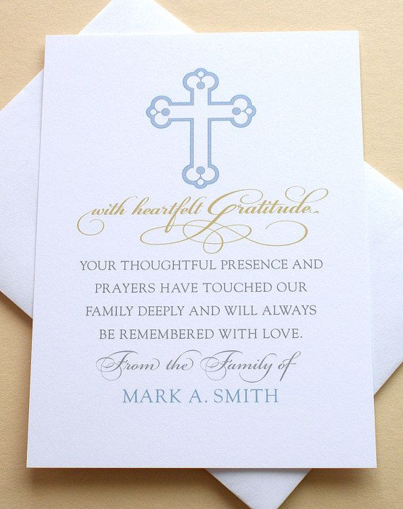 """Let me create a custom thank you sympathy card for you. The last thing on your mind when grieving is remembering to send out a thank you note to those who are there for you during that difficult time. • HOW TO CUSTOMIZE YOUR CARD: After you click on ''Add to Cart"""" you will see a box on the bottom left side that says ''Add an optional note to seller'', please type in your loved ones name and any other instructions.   • Gray, blue and dark yellow type.   • Size: 3-1/2"""" x 4-7/8"""".   • I..."""