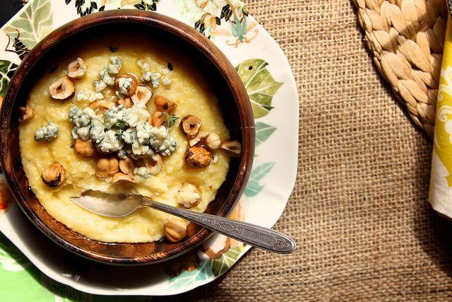 Blue Cheese, Hazelnut, and Honey Polenta (Minus blue cheese, use goat ...
