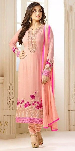 Sizzzling Pink Georgette Straight Suit.