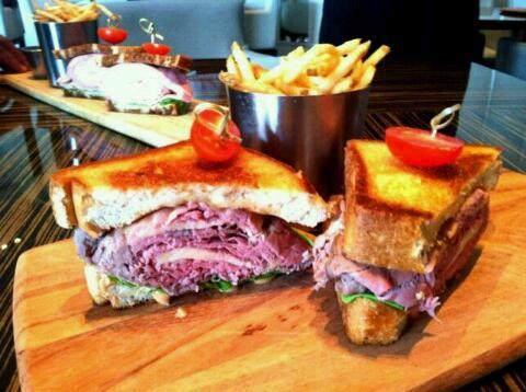 Texas Steak Sandwich ( Roast Beef, Horseradish Cheddar, Barbeque-Chipolte Aioli, Onion Crisps on Texas Toast)
