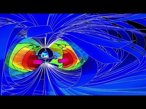 This video illustrates the complexity of Earth's magnetic environment, from the radiation belts encircling Earth to the magnetic field lines, depicted as blue ribbons, extending far out into space. During a drop-out, ultra-relativistic electrons stream down along powerful electromagnetic waves, as if they are raining into the atmosphere.