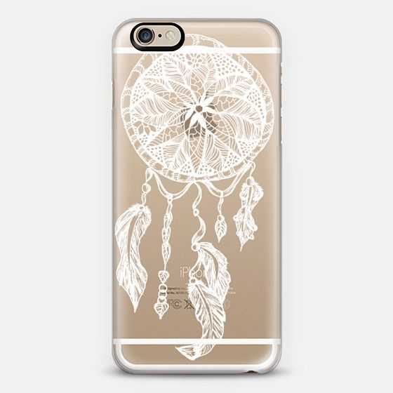 White transparent boho ethnic hand drawn lace dreamcatcher and feathers by Girly Trend - Classic Snap Case