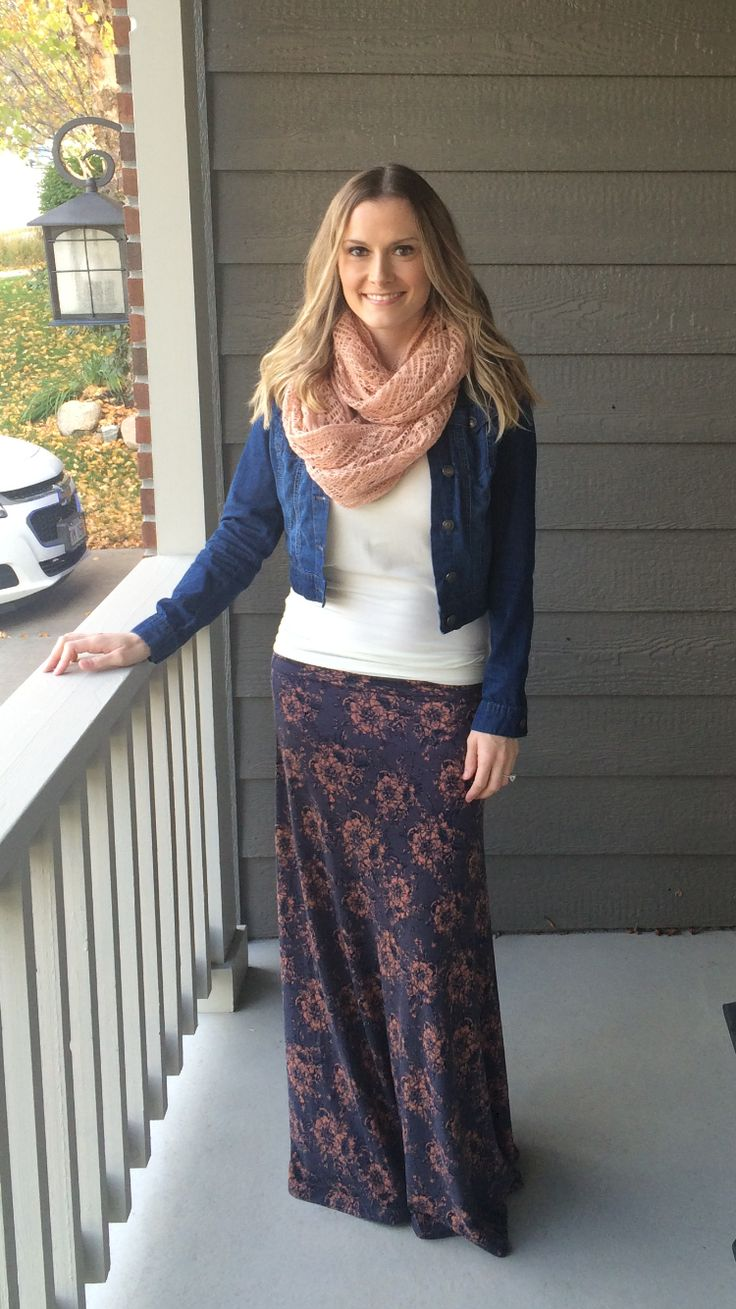 LuLaRoe maxi skirt styled for fall and winter