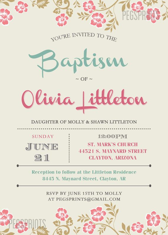 Floral Baptism Invitation // Girl Baptism Invitation by PegsPrints