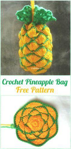 Crochet Pineapple Bag Free Pattern - Crochet Kids Bags Free Patterns