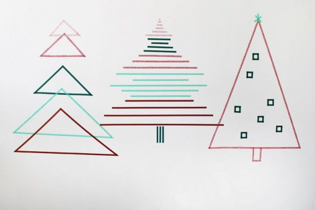 Washi tape use #145: create Christmas trees on a wall or two or three