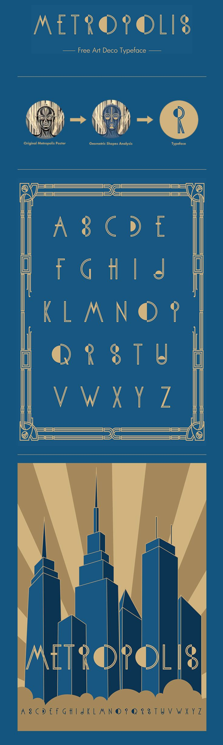 Is A Free Art Deco Typeface Inspired By The  Fritz Lang Film Metropolis And Designed By Kostas Hatzopoulos From Athens Greece Its Free To Use