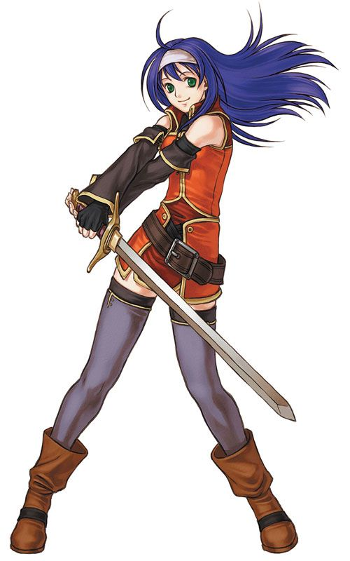 Mia from Fire Emblem : Radiant Dawn. Like many other character designs in the game, she has a bold, individualistic color scheme.