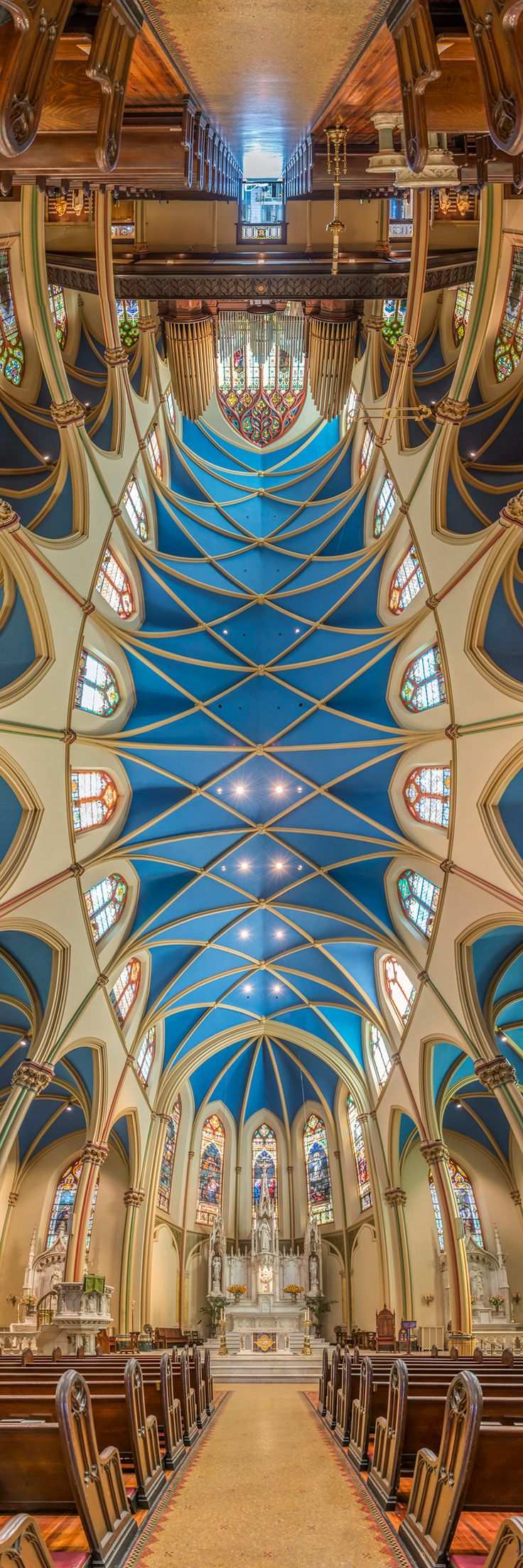 """Richard Silver ~ """"St. Monica's Church"""" from his series of vertical panoramic photos of churches of New York"""
