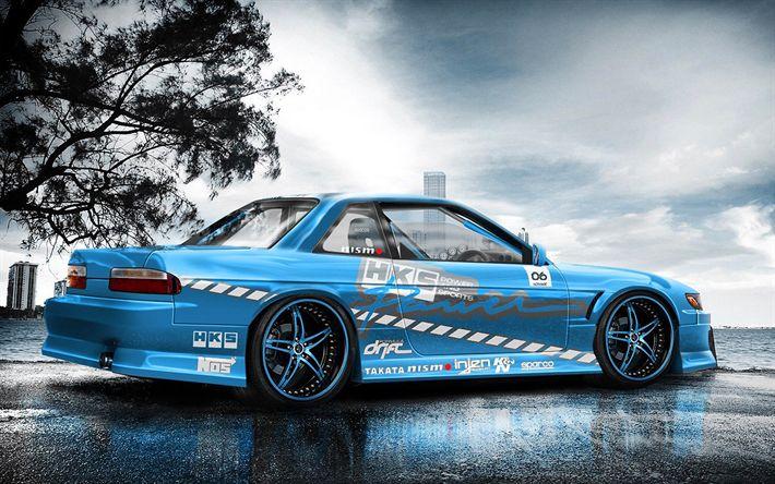 Descargar fondos de pantalla Nissan Silvia S14, la deriva de los coches, tuning, azul Silvia, los coches japoneses, Nissan