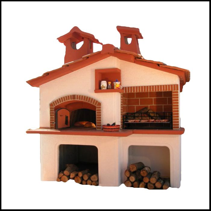 Barbecue con forno modello Roma: forno da giardino realizzato in cemento armato, piani in cotto, completo di focolare e forno. Ideale per il tuo giardino, e cucina con il metodo che preferisci sfruttando la duplice funzionalità