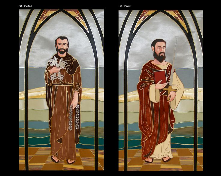 St Peter & Paul Custom Banners. Hand Appliquéd, Edged in Gold Embroidery