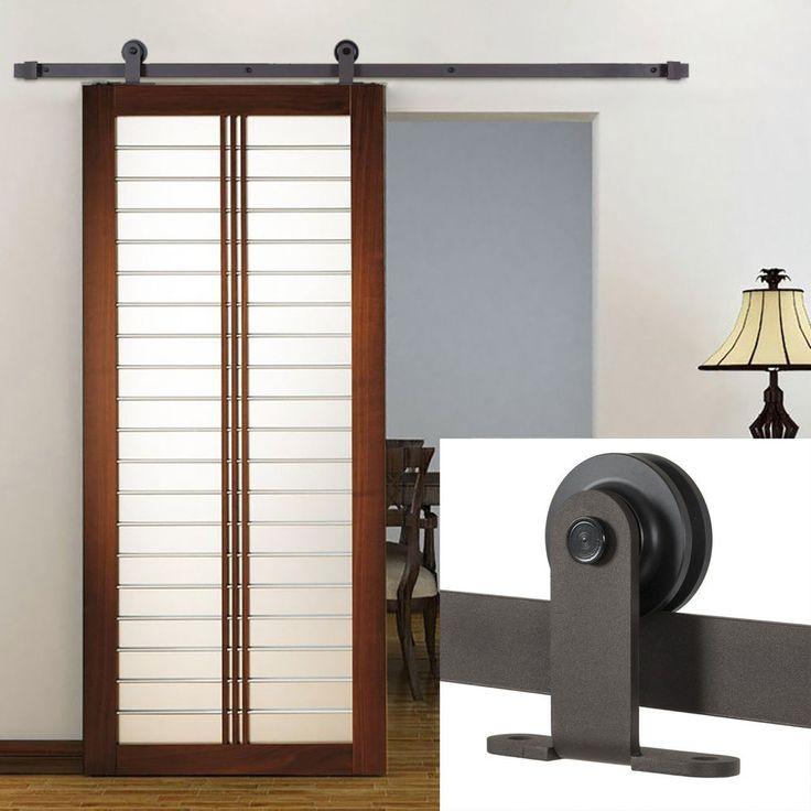 New antique sliding barn wood door hardware steel track for Sliding barn door track and rollers