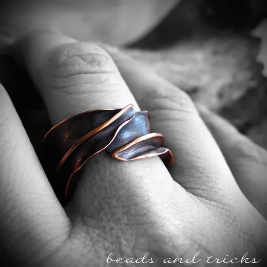 Folformed and forged copper ring   Handmade by Beads and Tricks