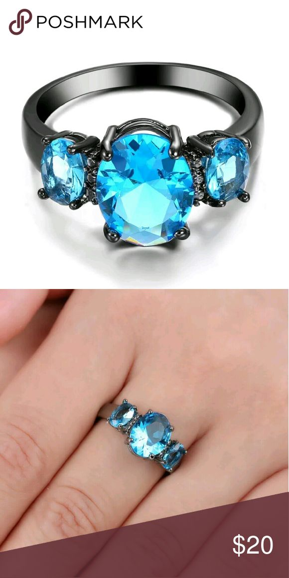 🎁SALE 10k Black Gold Filled Aquamarine Ring 🎁I'm currently running an additional sale. See listing at the top of my closet for details and end date.🎁  Reduced from $20 to $13! PRICE FIRM!  TEMPORARY SALE PRICE!   This ring is brand new and gorgeous! It's very sparkly. It's 10k black gold filled with 3 aquamarine stones. It's a size 8.5. Jewelry Rings