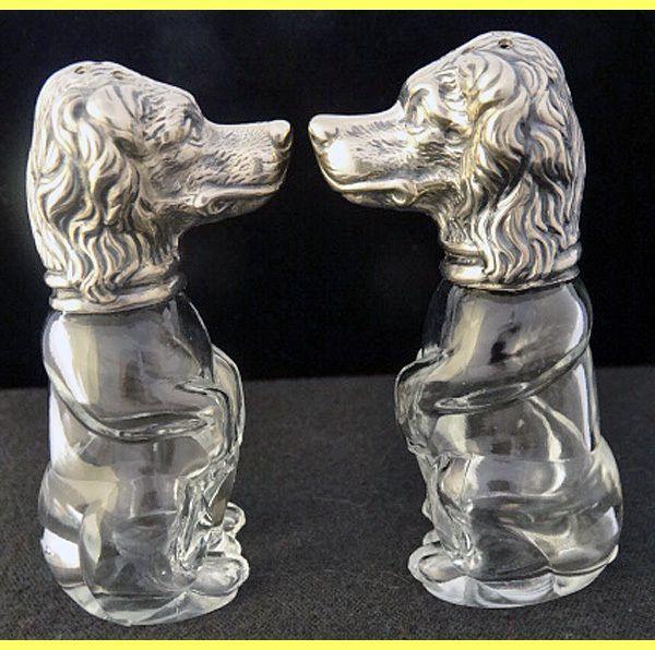 pair salt pepper shaker cellar set silver glass