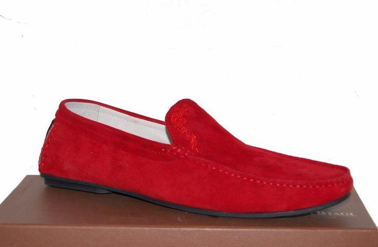 Barcelo Biagi Red Loafer Men's Suede Shoes Sz US 11 EU 44 Driving Moccasins #BarceloBiagi #LoafersSlipOns
