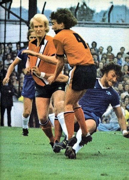 30th August 1975. Chelsea bruiser Micky Droy clatters Luton Town's Peter Anderson during a 3-0 defat at Kenilworth Road