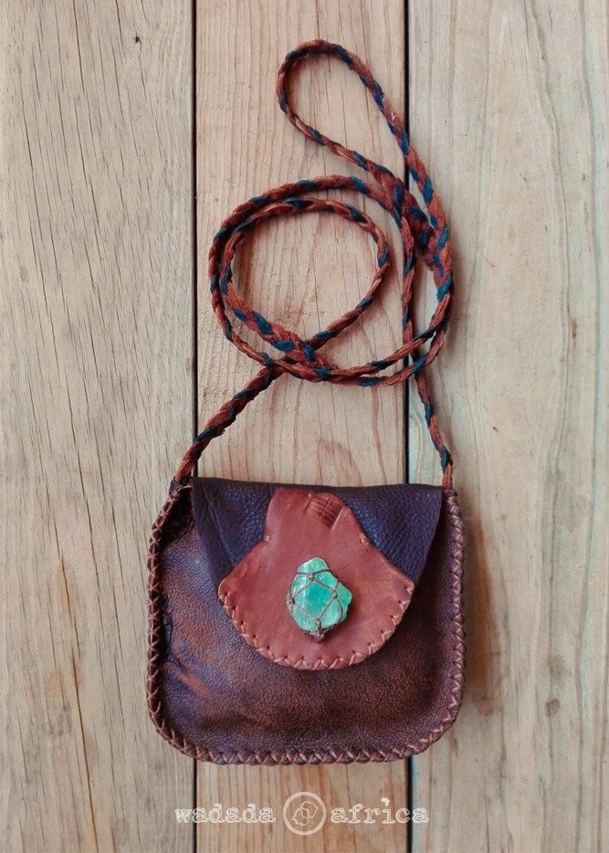 Handmade Upcycled Deerskin Leather Cross Shoulder Plaited Sling Pouch with Raw Green Fluorite Crystal in Knotted Basket by WadadaAfrica on Etsy
