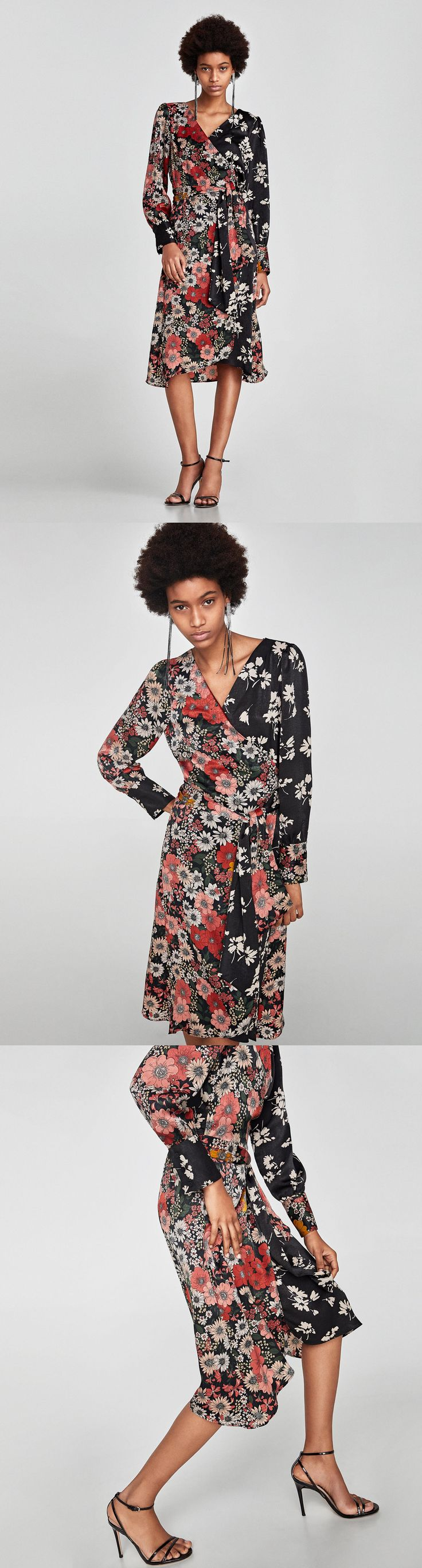 Crossed Midi Dress // 69.90 USD // Zara // Floral print midi dress with long sleeves, a fabric belt and a crossover V-neckline. HEIGHT OF MODEL: 178 cm. / 5′ 10″
