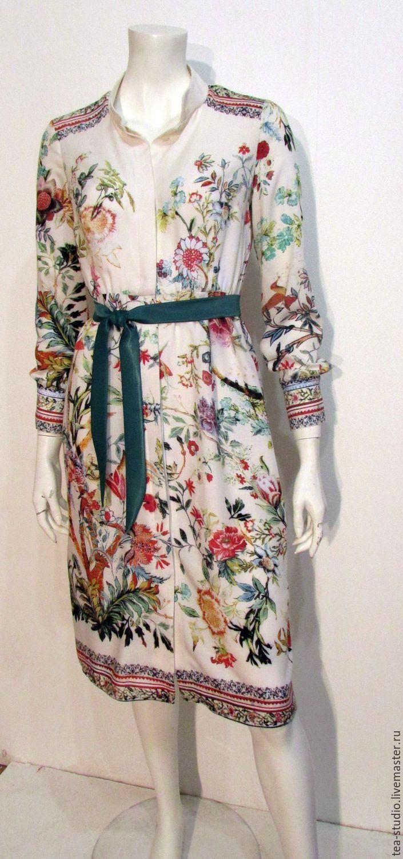 Купить Платье модель 1216-1 - кремовый, платье-рубашка, платье с рукавом, Платье в цветочек