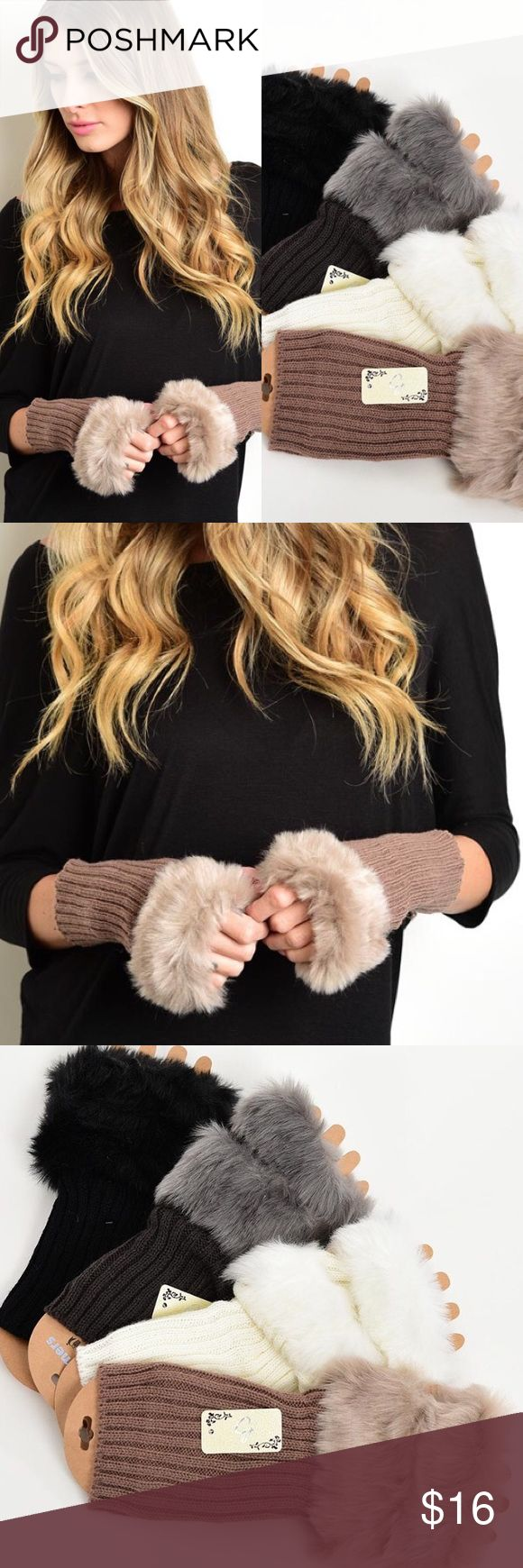 Assorted Colors Fur Lined Fingerless Winter Gloves New with tags. Fingerless gloves with faux fur trim available in assorted colors. Matching boot cuffs/leg warmers available listed separately.                           PRICE IS FIRM UNLESS BUNDLED.                            ❌SORRY, NO TRADES. Boutique Accessories Gloves & Mittens