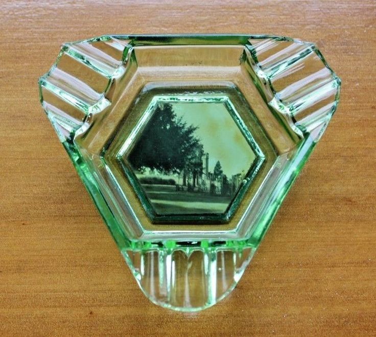 GREEN DEPRESSION Glass View Ware Ashtray Featuring BODALLA All Saints Church  #ARTDECO