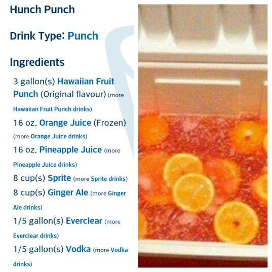 Hunch Punch! :) Perfect for a party! Just cut up your fruit, pour the drinks over it, let it all soak for 24-48 hours for more flavor, and BOOM! Done! :)