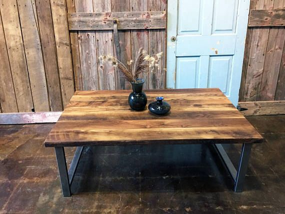 Reclaimed Oak Barn Wood Coffee Table With H Shaped Steel Legs Is Made From 100 Year Old Growth This Was Salvaged A In