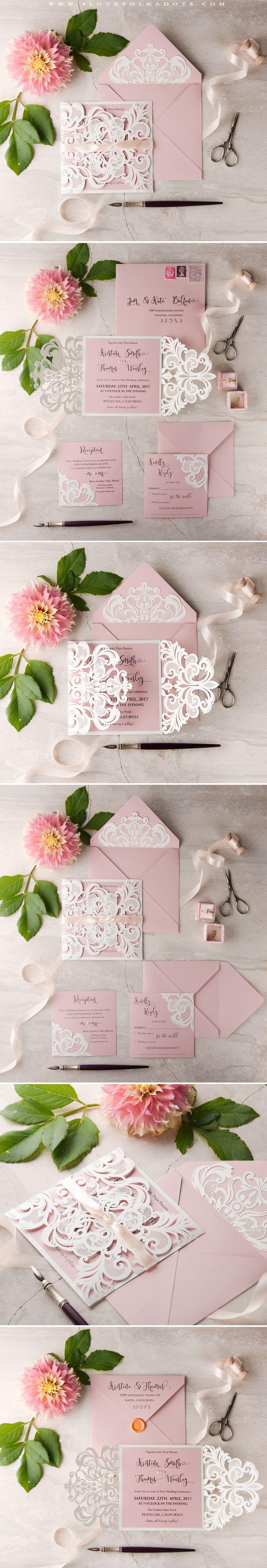 Blush Pink & White Wedding Invitation with laser cut lace #romanticwedding #lace #weddingideas