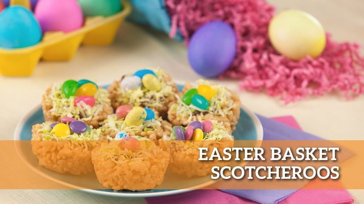 These tasty little Easter Basket Scotcheroos will hold all your favourite sweets in the palm of your hand! 🐰🐣🌷 Hop into spring with this recipe!  #makegood #recipe #EasterEgg #Easter #baking #foodie #food #dessert #recipes #easyrecipes #delicious #treat #snack #scotcheroos