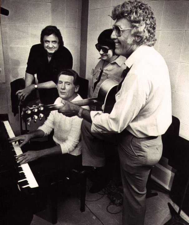 Johnny Cash, Jerry Lee Lewis, Roy Orbison Carl Perkins.On the first day of the Class of '55 session, September 16th, 1985.