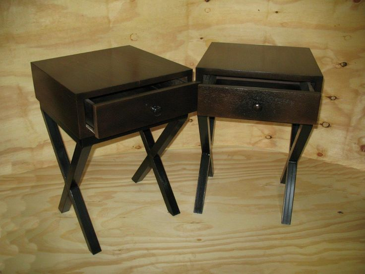 Mahogany bed pedestals with steel legs