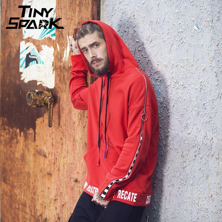 3 Colors Men Hoodie Zipper Sleeve Striped Sweatshirt Back Print High Street Pullover Female Long Hoodies Hip Hop New Spring 2018