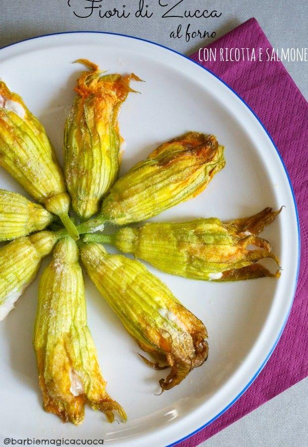 fiori di zucca al forno con ricotta e salmone