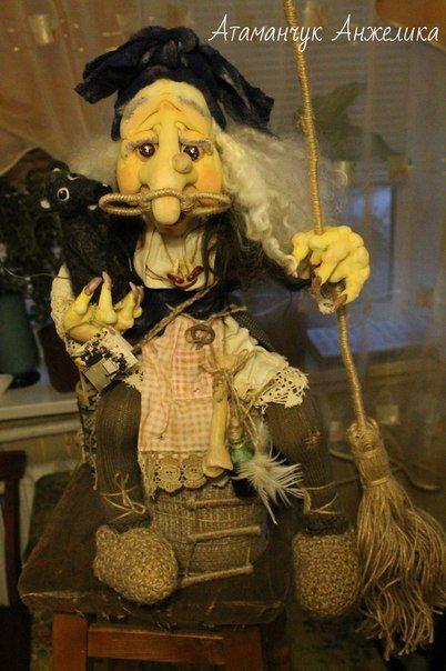 интерьерная кукла Баба Яга   Interior doll Baba Yaga