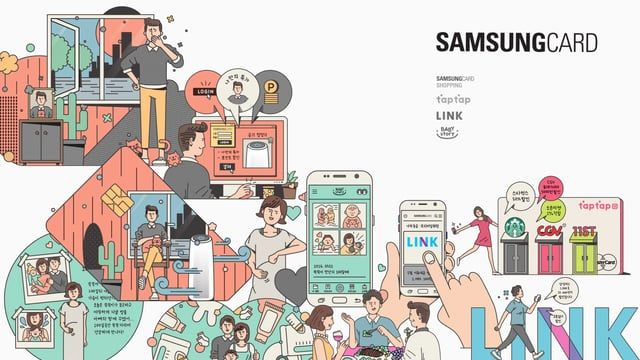 """Key visual design for the second Samsung Card Select 34, an annual picnic concert. This year, Saworl created illustrations for the """"Digital Experience Shop,"""" which introduced the service that Samsung Card provides and allowed the public to try them out. For the ease of understanding services and benefits, the design was a combination of pictogram and illustration.   Client: Samsung Card Design: Kim Jehyung, Shim Bora Illustration: Shim Bora, Kim Minyoung, Kang Hojung, Lee Minkyung AE: ..."""