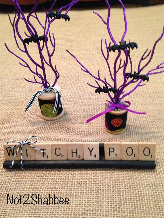 Halloween Scrabble Word Art Witchy Poo Vintage Wood Letter