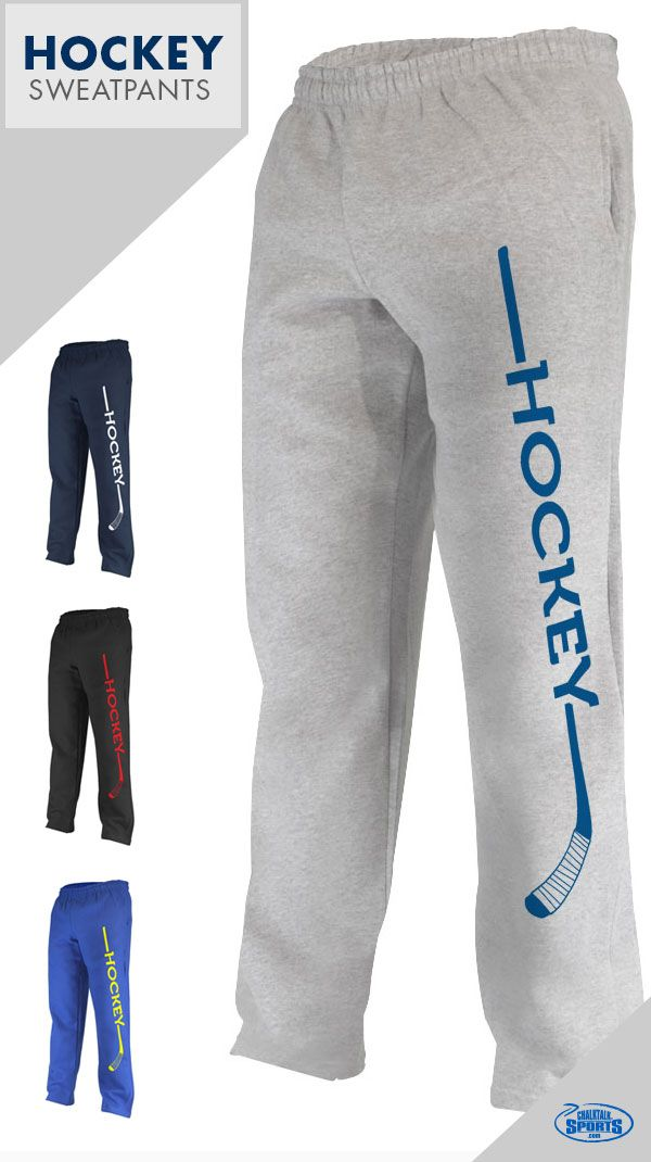 Hockey sweatpants come in several colors and sizes. Personalize the opposite leg with your number. See more options on our website.