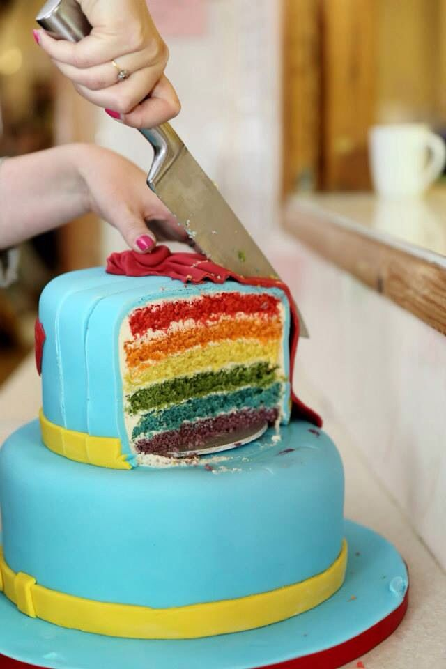 Rainbow cake ... Loaded with sugar but tasted delicious