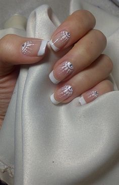 Pretty Bridal Nails nailartgallery.nailsmag.com ❥