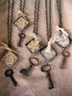 try this: Soldered lace pendant with key