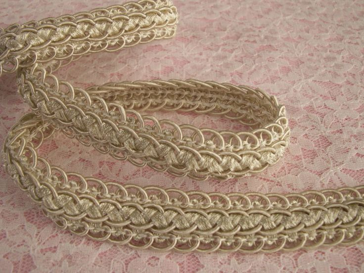 Ivory Scalloped Braid Trim, 2 YARDS, Home Decor, Passementerie Trim #Unbranded