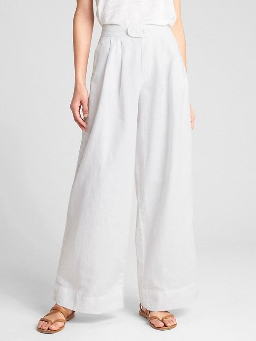 3e14b1df85f2 Gap Womens High Rise Wide-Leg Pants In Linen-Cotton Optic White ...