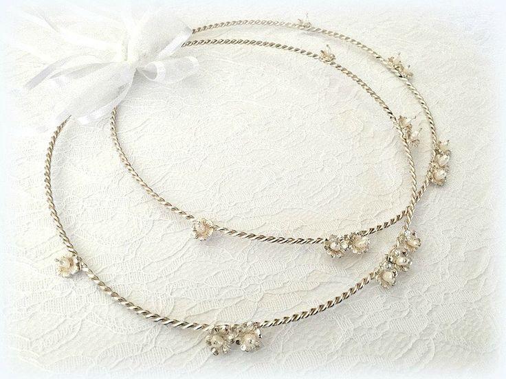 Wedding Crowns.Orthodox Stefana.Wedding Headband.Silver 925 stephana Στεφανα.Bridal Crowns.Stefana.Orthodox Ceremony Crowns.SILVER DAISIES. by RaniaCreations on Etsy