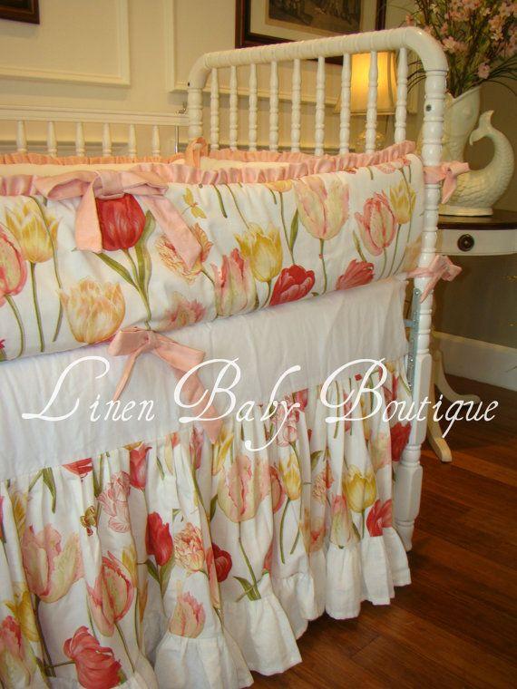 Custom Crib Bedding Crib Set Tulip and Minky 2 Piece by LinenBaby, $284.00