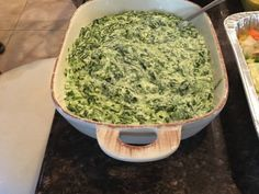 This is by far the best creamed spinach recipe that I have ever tasted! My mother got married in early Nov and my brother (a chef) served Bar-B-Qued Filet Mignon, oven roasted red potatoes, this creamed spinach, salad and garlicy cheesy bread - Talk about heaven!! The creamed spinach stole the show and 1/2 the guests left with the recipe! He found the recipe on the internet, it is a copy cat recipe of Boston Markets creamed spinach. (I think its better).