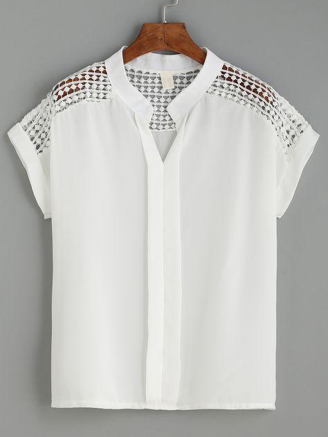 Kaufen Sie White Dot Crochet Yoke-Bluse mit Placket-Funktion online. SheIn bietet Weiß…