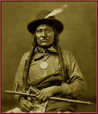 Chief Little Wound was the war chief who directed the Sioux against General Crook at old Fort Fetterman in the early 1870's and would have defeated him had reinforcements not reached him at the last moment when all seemed lost. The arrival of these reinforcements was all that prevented the massacre of General Crook's entire command at the hands of Little Wound and his band of warriors.